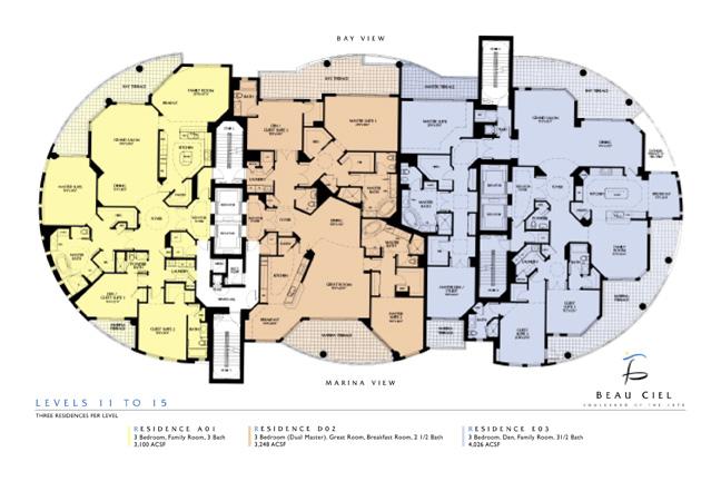 Beau Ciel Floor Plans Sarasota Condominiums Barbara A Mei